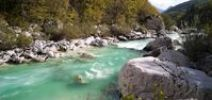 Thumbnail Panoramic view of turquoise Soca river, Soca Valley near Bovec, Triglav National Park, Slovenia, Europe