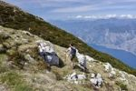 Thumbnail Hikers climbing Mt Monte Altissimo above Nago-Torbole, Lake Garda below, Trentino, Italy, Europe