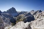 Thumbnail View from Mt Forcella Undici of Mt Croda dei Toni, Tre Cime di Lavaredo massif in the back, on the way to the Strada degli Alpini via ferrata, Sesto, Sexten, Dolomites, South Tyrol, Italy, Europe