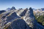 Thumbnail View from the Strada degli Alpini via ferrata of Mt Cima Una, Val Fiscalina below, Tre Cime di Lavaredo massif in the back, Sesto, Sexten, Alta Pusteria Valley, Dolomites, South Tyrol, Italy, Euro