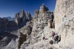 Thumbnail Hikers climbing Mt Paterno, Tre Cime di Lavaredo massif in the back, Sesto, Sexten, Alta Pusteria Valley, Dolomites, South Tyrol, Italy, Europe