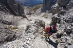 Thumbnail Hikers climbing Mt Paterno above the Comoscio Pass, Sesto, Sexten, Alta Pusteria Valley, Dolomites, South Tyrol, Italy, Europe