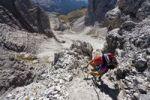 Thumbnail Hikers climbing Mt Paterno above the Comoscio Pass, Sesto, Sexten, Alta Pusteria Valley, Dolomites, South Tyrol, Italy, Europe