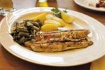 Thumbnail Grilled sea bass with green beans and boiled potatoes