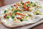 Thumbnail Tarte flambée with mozzarella and vegetables