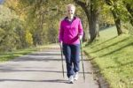 Thumbnail Woman doing Nordic Walking in autumn, Schnabelberg mountain, Waidhofen Ybbs, Lower Austria, Mostviertel, Austria, Europe