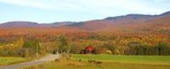 Thumbnail House in front of landscape with autumnal trees, Sutton, Quebec, Canada