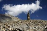 Thumbnail Cairn as signpost and orientation help in rocky alpine terrain without trails, Valais, Switzerland, Europe