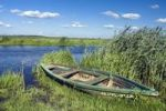 Thumbnail Boat and Narew River near Waniewo village, Narwianski National Park, Poland, Europe