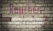 "Thumbnail Brick wall with the word ""Rauchen"", German for ""smoking"", in magenta colour, Berlin, Germany, Europe"