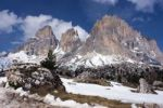 Thumbnail Peak of Langkofel or Sassolungo from Sellajoch or Sella Pass, Passo Sella, Dolomites, Italy, Europe