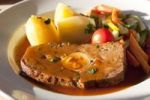 Thumbnail Meatloaf with vegetables, boiled potatoes and gravy