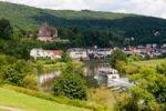 Thumbnail Neckarsteinach, Mittelburg Castle, tourist boat, Vierburgeneck, Neckartal Nature Park, Neckar River, Odenwald, Hesse, Germany, Europe, PublicGround