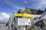 Thumbnail Signposts for the Passamani hiking trail in the Karwendel mountain range, Karwendel Alpine Nature Park near Mittenwald, Upper Bavaria, Bavaria, Germany, Europe, PublicGround
