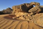 Thumbnail Sandstone rock formation and sand dunes, Adrar Tekemberet, Immidir, Algeria, Sahara, North Africa