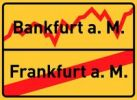 Thumbnail City sign, end of village, Bankfurt am Main, symbolic image for the banking metropolis Frankfurt am Main, Hesse, Germany, Europe