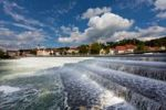 Thumbnail Karolinenwehr weir, four-stepped overfall weir, Landsberg am Lech at back, Bavaria, Germany, Europe, PublicGround