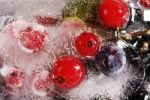 Thumbnail Block of ice with frozen fruits of the forest, huckleberries, blueberries and red currants