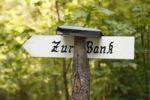 "Thumbnail Sign, lettering ""Zur Bank"", Jachenau, Upper Bavaria, Bavaria, Germany, Europe, PublicGround"