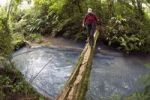 Thumbnail Hiker crossing the Rio Celeste on a wooden bridge, Tenorio National Park, Guanacaste, Costa Rica, Central America