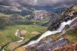 Thumbnail Litlverivassforsen waterfall and Storskogelva river in Storskogdalen valley, Rago National Park, Nordland county, Norway, Scandinavia, Europe