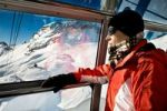 Thumbnail Woman in the gondola lift at Zugspitze peak in the Alps, Bavaria, Germany, Europe
