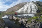 Thumbnail Hiker at Dynjandifoss or Fjallfoss Waterfall, Westfjords, Iceland, Europe