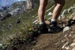 Thumbnail Detail view, female hiker's legs, climbing boots, in the Rofan mountains, Tyrol, Austria, Europe