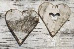 Thumbnail Two hearts made of birch bark on birch bark