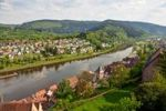 Thumbnail Overlooking the historic town centre of Hirschhorn on the Neckar River, Neckartal-Odenwald Nature Reserve, Hesse, Germany, Europe, PublicGround