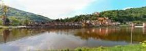 Thumbnail Panoramic view of the town with Hirschhorn Castle, Marktkirche Church, the Carmelite Monastery and the Neckar River, Hirschhorn, Neckartal-Odenwald Nature Reserve, Hesse, Germany, Europe, PublicGr