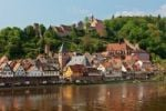 Thumbnail View of the town with Hirschhorn Castle, Marktkirche Church, the Carmelite Monastery and the Neckar River, Hirschhorn, Neckartal-Odenwald Nature Reserve, Hesse, Germany, Europe, PublicGround