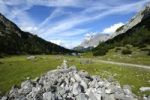 Thumbnail Cairn in front of Seebensee lake and Mt Zugspitze, Ehrwald, Tyrol, Austria, Europe, PublicGround