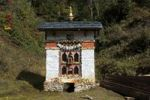 Thumbnail Small shelter for a Buddhist prayer wheel at the entrance to Dochula Pass, Bhutan, South Asia