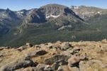 Thumbnail View of Hayden Spire, Terra Tomah Mountain and Mount Ida, left to right, from Trail Ridge Road, Rocky Mountain National Park, Colorado, USA