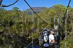 Thumbnail hiker in front of suspension bridge in Overland Track in Cradle Mountain NationalparkTasmania Australia