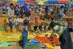 Thumbnail one of the most beautiful marketes in the indian village San Juan Chamula sales of fruits Chiapas Mexico