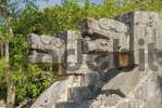 Thumbnail Castilo the pyramide of Kukulkan the staircase are elaboreted wtih snake heads Chichen Itza Mexico