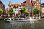 Thumbnail BRD Germany Schleswig Holstein Lübeck at the Under Trave Sightseeing Ship with Tourists Old Trading Houses