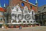 Thumbnail BRD Germany Schleswig Holstein Lübeck Historical City Hall with Restaurant and white Sunshades Guest and Visitors