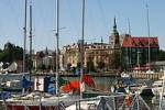 Thumbnail BRD Germany Mecklenburg Vorpommern City Stralsund Historical Houses in the Down Town and Nicolai Church View to Harbour and Sailboats