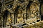 Thumbnail Three images of Buddha in gold Golden Temple Patan Kathmandu Nepal