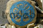 Thumbnail Tibetan script in a circle with turquise colour on a rock Nar-Phu Annapurna Region Nepal