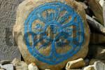 Thumbnail Tibetan script in a circle with turquise colour on a rock Nar-Phu Annapurna Region Nepal