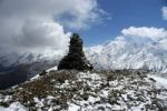 Thumbnail Stone pile on 5237 m high peak with some snow Phu Nar-Phu Annapurna Region Nepal
