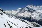 Thumbnail Snow covered high mountains of Annapurna II seen from Kang La Pass Nar-Phu Annapurna Region Nepal