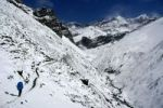 Thumbnail Trekker with backpack in snowy landscape on the way to Thorung Phedi Annapurna Region Nepal