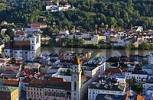 Thumbnail view from the fortress Oberhaus to the old town with the town hall and the church St Michael town of Passau Bavaria Germany