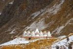 Thumbnail Tibetan Buddhism stupas on snow covered slope Drak Yerpa Tibet China