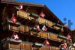 Thumbnail Typical Swiss chalet decorated with flags Kippel Lötschental Valais Switzerland